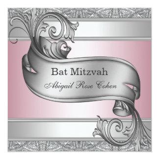 Bat mitzvah rose argenté carton d'invitation  13,33 cm
