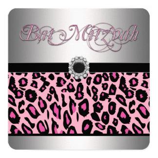 Bat mitzvah rose de léopard carton d'invitation  13,33 cm