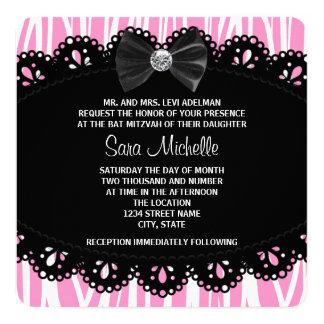Bat mitzvah rose de zèbre carton d'invitation  13,33 cm
