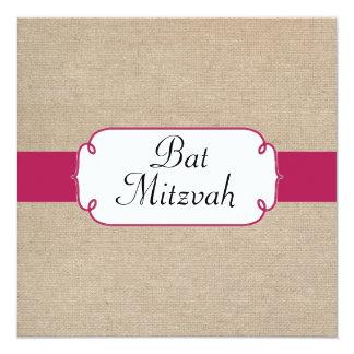 Bat mitzvah rose et beige rouge vintage de toile carton d'invitation  13,33 cm