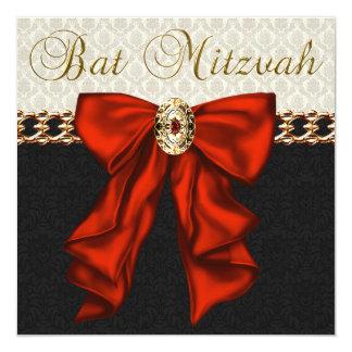 Bat mitzvah rouge de damassé de noir d'or bristol