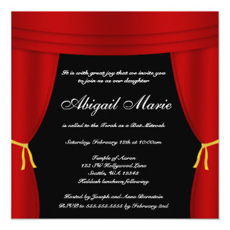 Bat mitzvah rouge de rideau de Hollywood Carton D'invitation 13,33 Cm