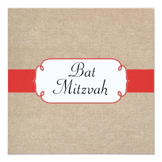Bat mitzvah rouge et beige de pavot vintage de carton d'invitation  13,33 cm