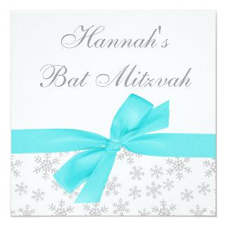 Bat mitzvah turquoise d'arc de flocons de neige carton d'invitation  13,33 cm