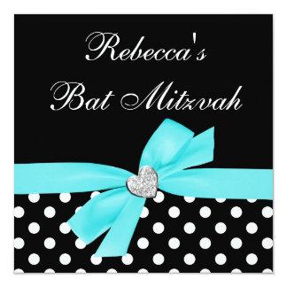 Bat mitzvah turquoise de coeur d'arc de noir bleu carton d'invitation  13,33 cm