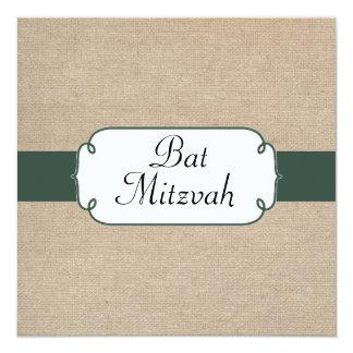 Bat mitzvah vert et beige de pin vintage de toile carton d'invitation  13,33 cm