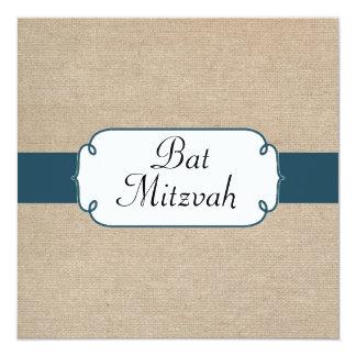 Bat mitzvah vert et beige turquoise vintage de carton d'invitation  13,33 cm