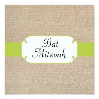 Bat mitzvah vintage de toile de jute de vert jaune carton d'invitation  13,33 cm