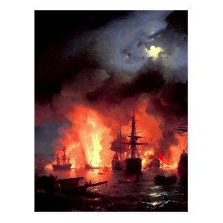 Bataille de Cesme la nuit par Ivan Aivazovsky Carte Postale