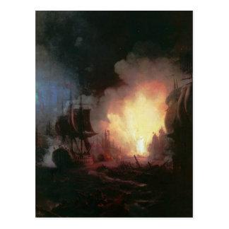 Bataille de Chesma par Ivan Aivazovsky Carte Postale
