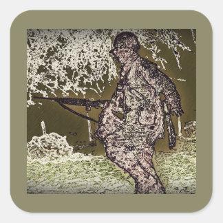 Bataille de silhouette de soldat de protubérance sticker carré