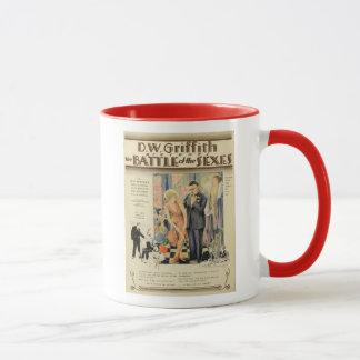 Bataille des sexes 1928 tasses vintages d'affiche