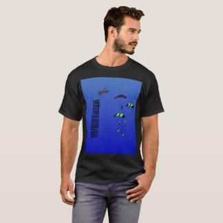Bataillon de parachute de T-shirt noir d'hommes