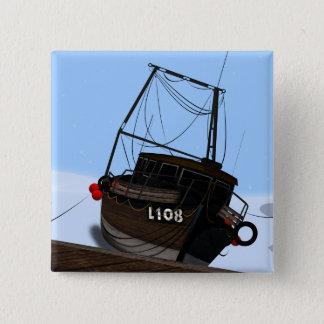 Bateau de pêche badge carré 5 cm