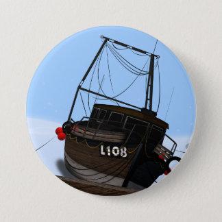 Bateau de pêche badge rond 7,6 cm