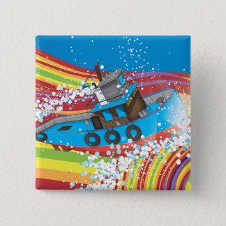 Bateau de pêche orageux badge carré 5 cm