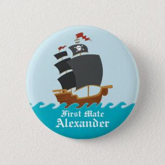 Bateau de pirate badge rond 5 cm