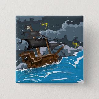 Bateau de pirate dans la tempête badge carré 5 cm