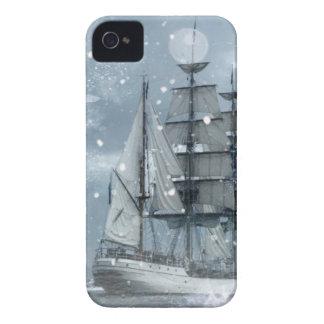 bateau de pirate vintage de tempête de neige coques Case-Mate iPhone 4