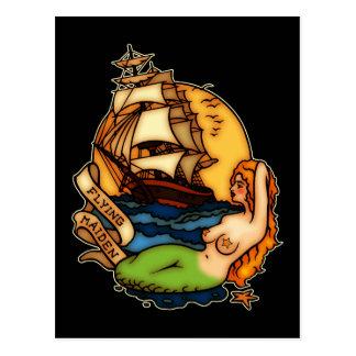Bateau de sirène et de pirate carte postale