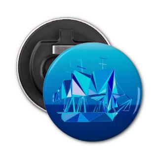 Bateau de tondeuse géométrique moderne, bleu de décapsuleur