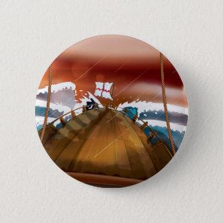 Bateau de voile de tempête d'océan badge rond 5 cm