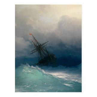 Bateau sur les mers orageuses, Ivan Aivazovsky Carte Postale