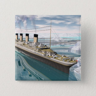 Bateau titanique - 3D rendent Badge Carré 5 Cm