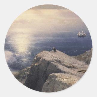 Bateau vintage de l'eau d'Ivan Aivazovsky peignant Sticker Rond