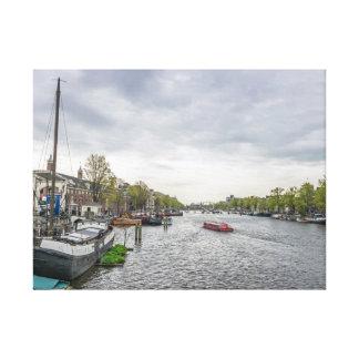 Bateaux dans la copie de toile d'Amsterdam