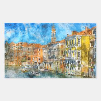 Bateaux dans le canal grand de Venise Italie Sticker Rectangulaire