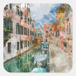 Bateaux dans les canaux de Venise Italie Sticker Carré