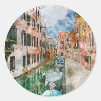Bateaux dans les canaux de Venise Italie Sticker Rond