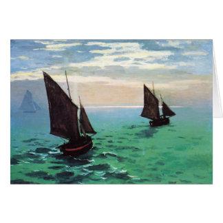 Bateaux de pêche de Monet à la carte de note de me