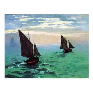 Bateaux de pêche de Monet à la carte postale de
