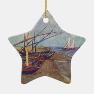 Bateaux de pêche sur la plage par Vincent van Gogh Ornement Étoile En Céramique