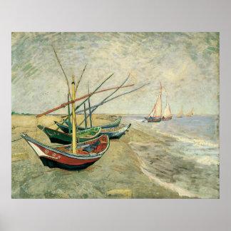 Bateaux de pêche sur la plage par Vincent van Gogh Poster