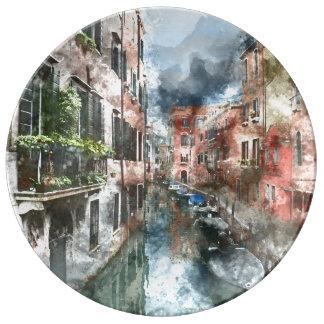 Bateaux de Venise Italie dans le canal Assiette En Porcelaine