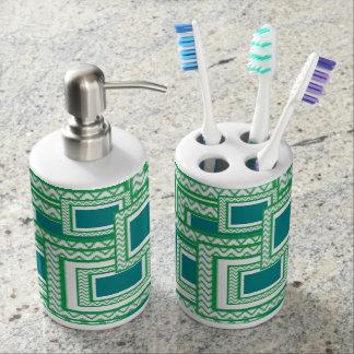 Bath réglé dans beaux bleu et vert distributeurs de savon
