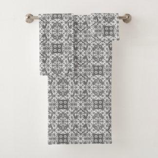 Batik tribal - gris/gris, noir et blanc