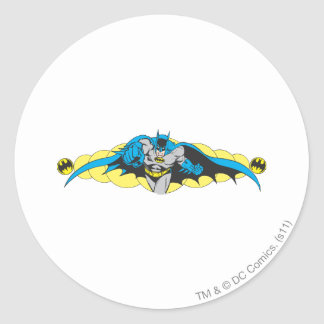 Batman valt vooruit uit ronde sticker