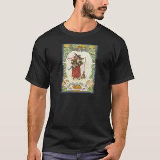 Batte de cartes de jeu de chat noir de balai de t-shirt