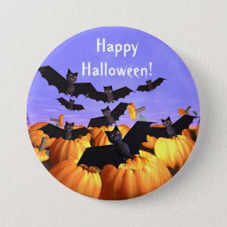 Battes et citrouilles de Halloween Badge Rond 7,6 Cm