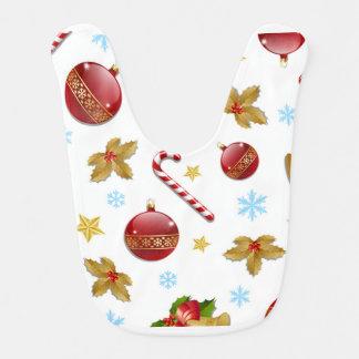 Bavoir Boules rouges et d'or de Noël, houx de Noël
