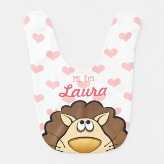 Bavoir Cute Lion Bib with Baby's nom, Custom Color heart