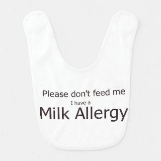 Bavoir d'allergie de lait de vaches
