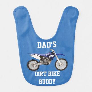 Bavoir de bébé bleu d'ami de vélo de la saleté du