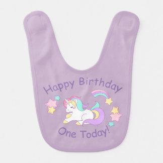 Bavoir de bébé de licorne d'anniversaire