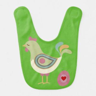 Bavoir de bébé de poulet et d'oeufs