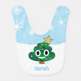 Bavoir de bébé d'Emoji de dunette d'arbre de Noël